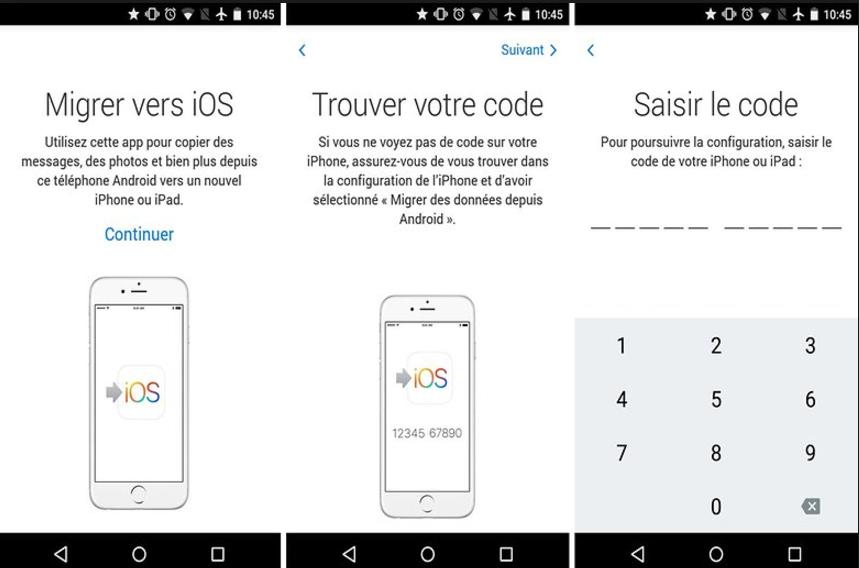 Transférer des données d'Android à iPhone via Migrer vers iOS – étape 2