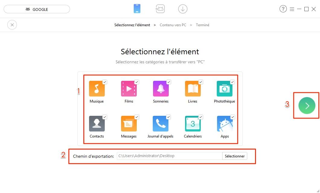 Transfert de données Android vers PC - étape 2