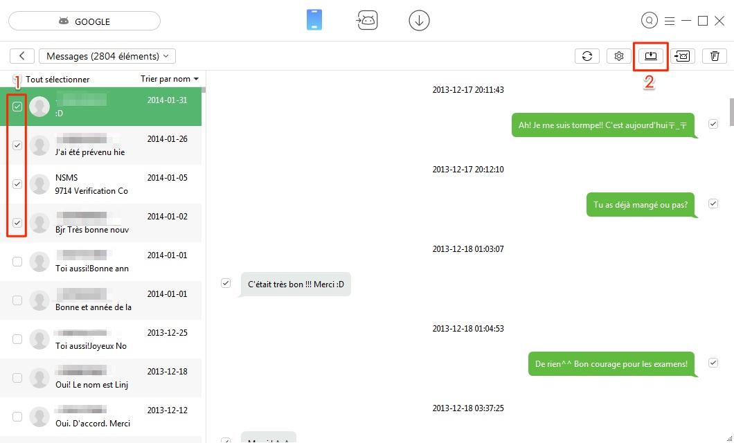 Transfert de données Android vers PC sélectivement - étape 3