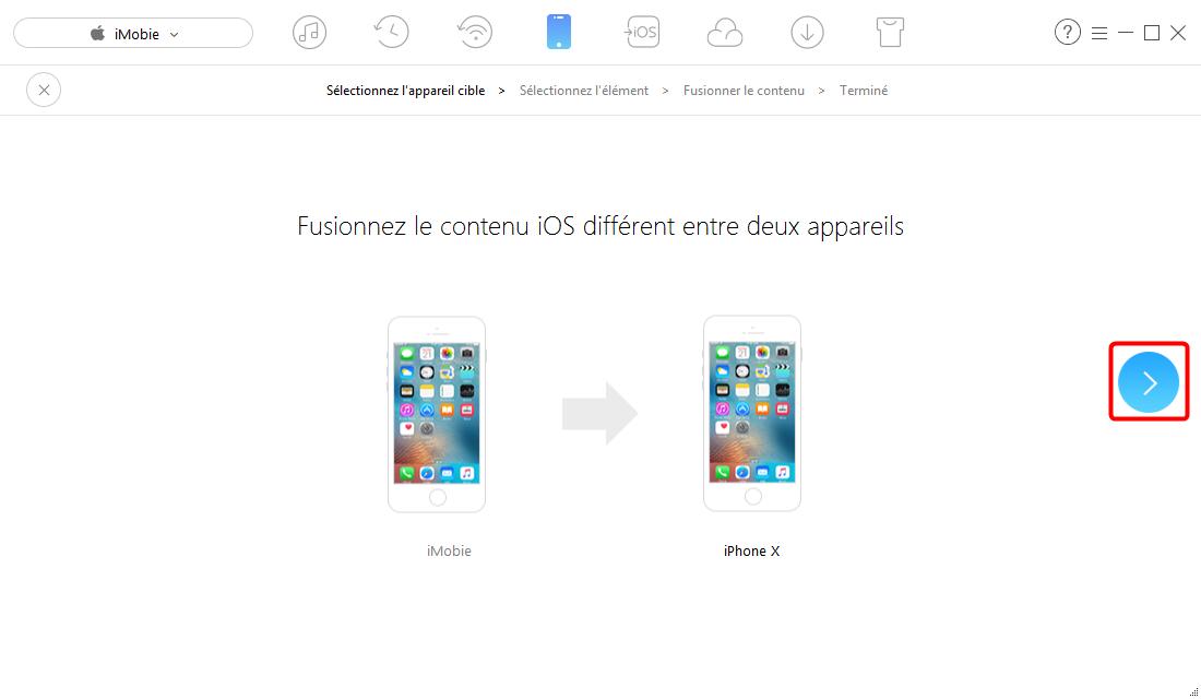 Envoyer vos données iOS vers iOS 11 - étape 2