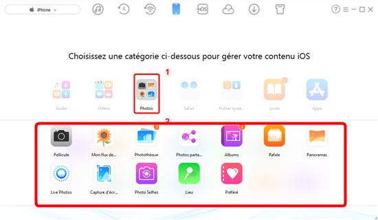 Envoyer vos photos vers iOS 11 avec le bouton Clonner des contenus