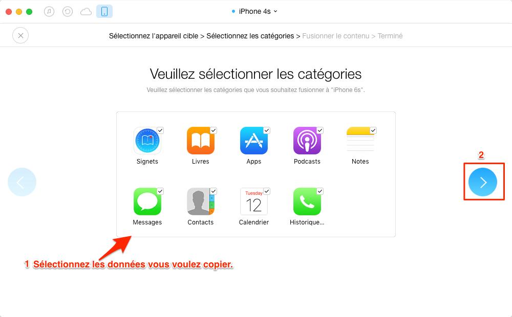 Transférer les données importantes vers nouvel iPhone 6 /6s - étape 3
