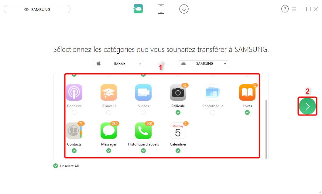 Comment transférer le contenu iPhone vers Android– étape 2