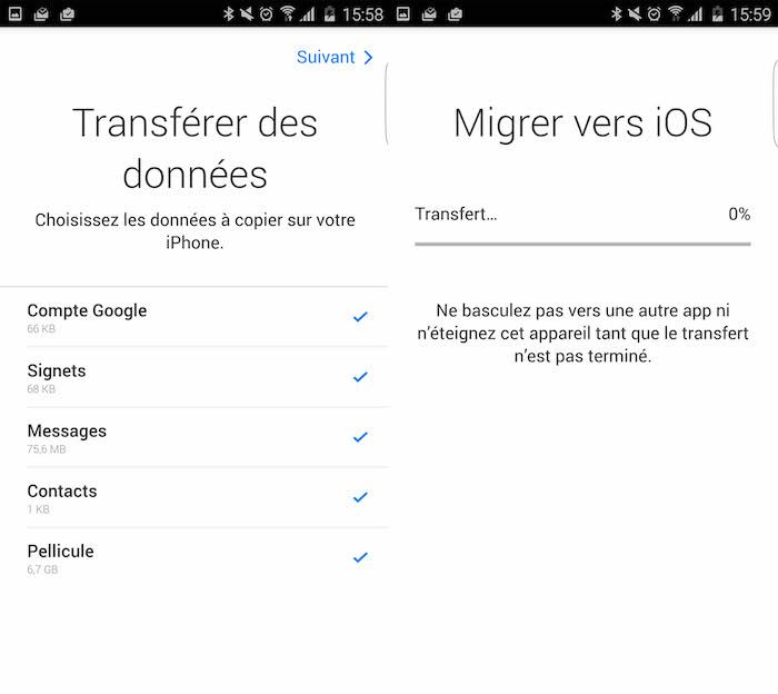Migrer des données depuis Android vers iOS via Migrer vers iOS
