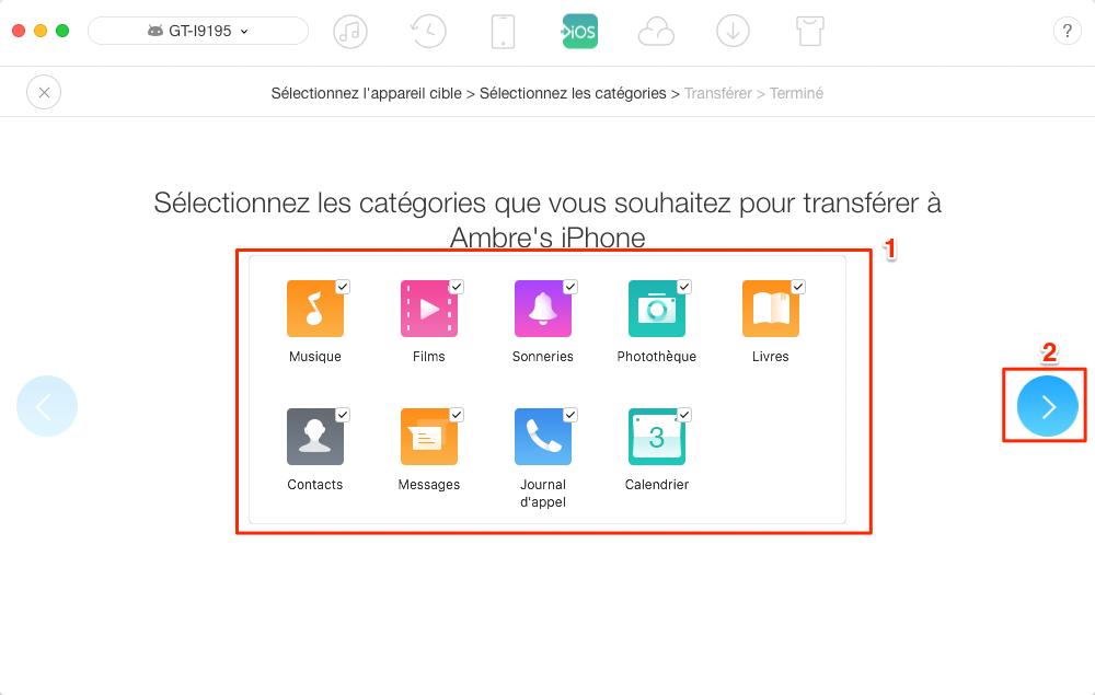 Migrer des données depuis Android vers iPhone en 1 clic