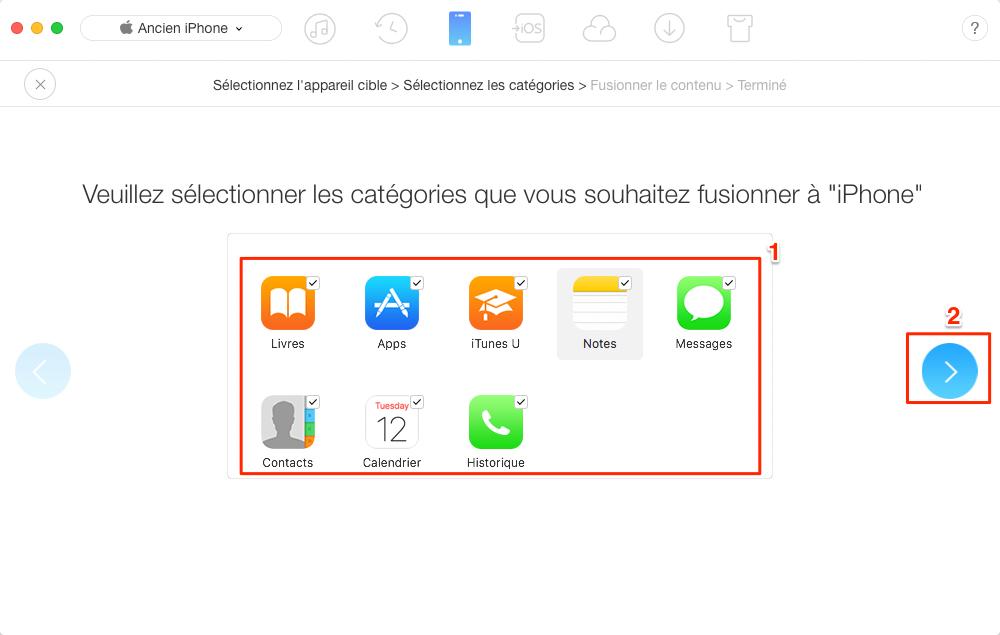 Transférer directement des données d'un iPhone à un autre – étape 3