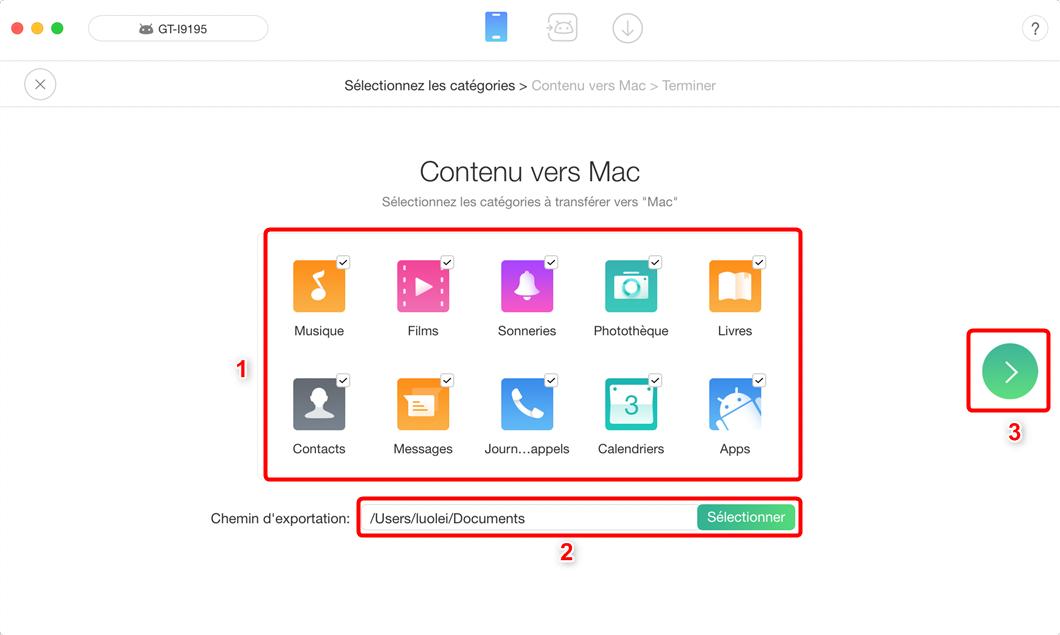 Comment transférer les fichiers d'Android vers Mac en un clic - étape 2