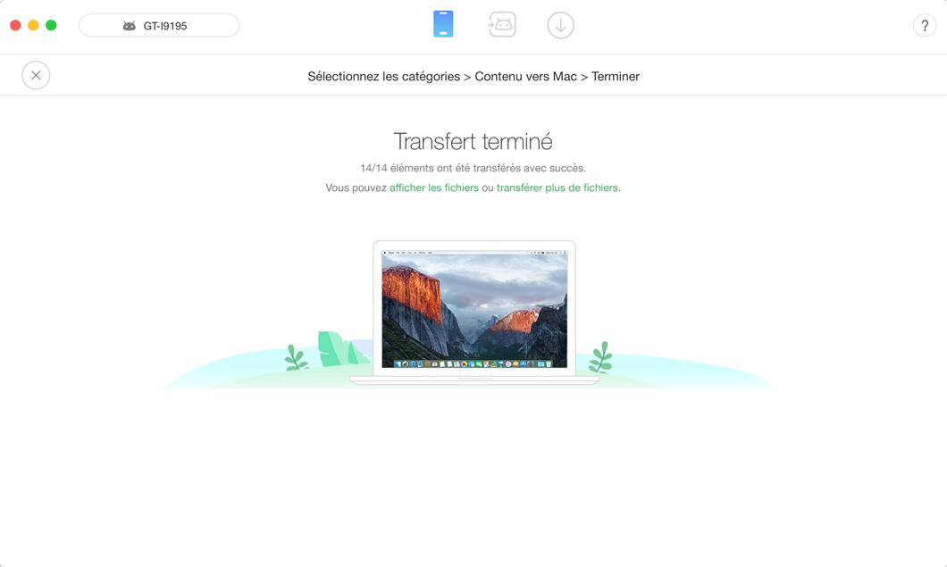 Transférer directement les fichiers Android vers Mac - étape 3