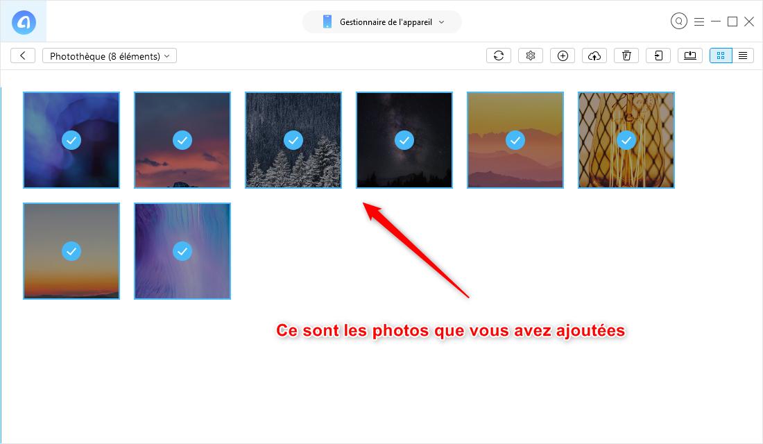 Le transfert de photos sélectionnées