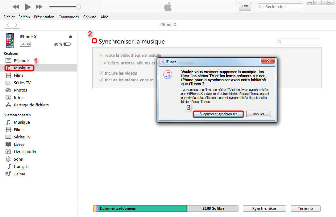 Transfert des fichiers PC vers iPad avec iTunes