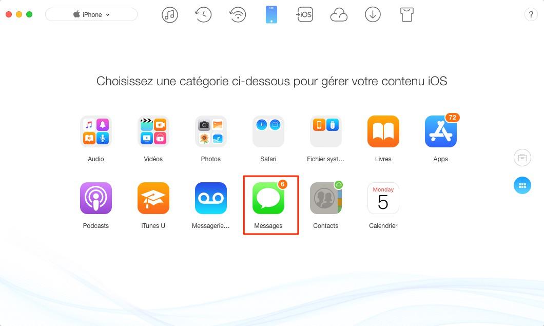 Transférer des iMessages de l'iPhone vers Mac avec AnyTrans pour iOS – étape 2