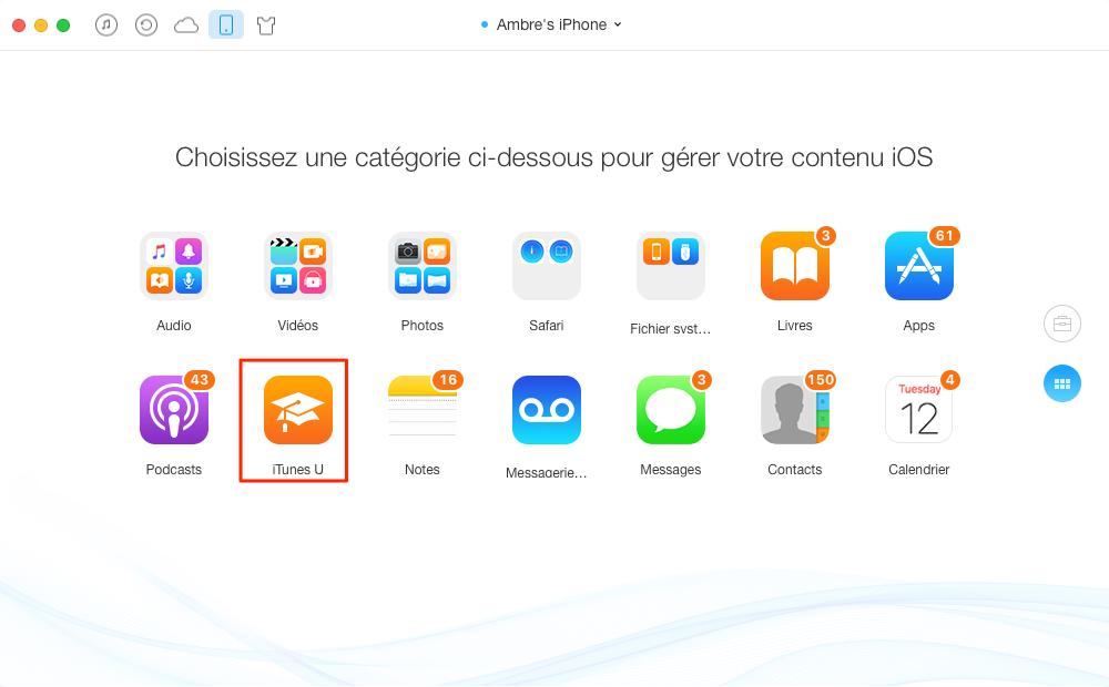 Transférer iTunes U de l'ordinateur vers iPhone avec AnyTrans - étape 2