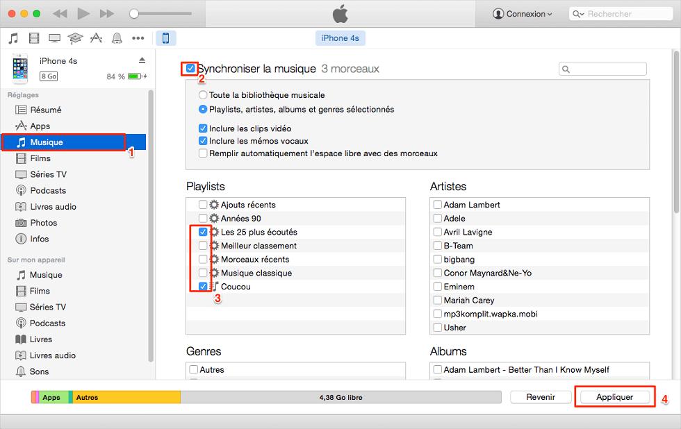 Ajouter de la musique sur iPhone avec iTunes