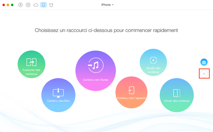 Transférer les contacts iPhone vers Mac via Anytrans - étape 1