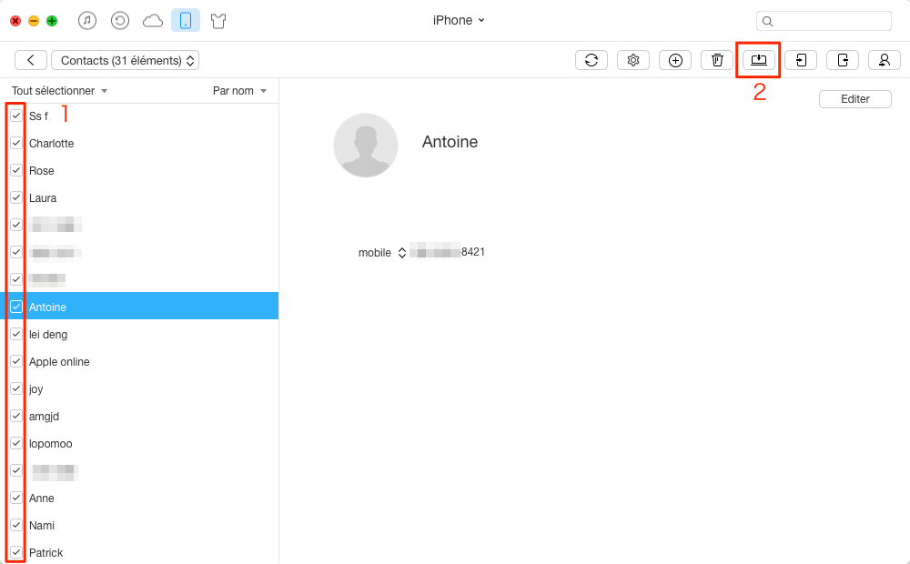Transférer facilement les contacts iPhone vers Mac – étape 3
