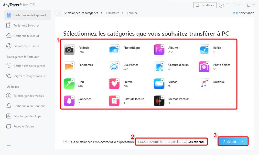 Transférer les données iPhone vers PC