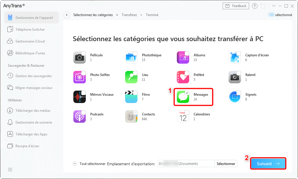 Transférer des messages iPhone vers nouvel iPhone