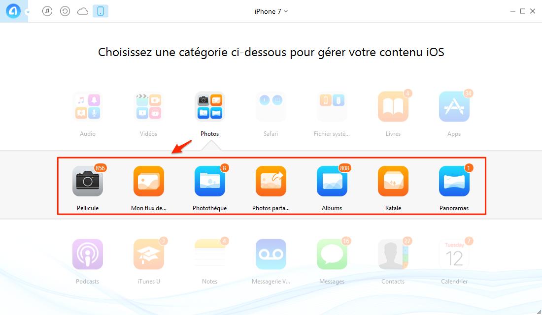 Importer les photos iPhone 7 vers PC – étape 2