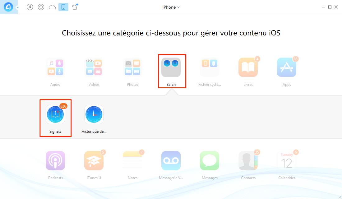 Ajouter les signets depuis PC vers iPhone – étape 2