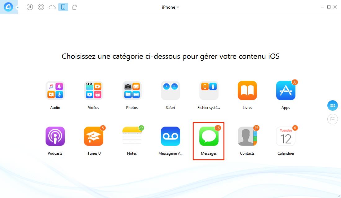 Exporter des SMS de l'iPhone sur PC - étape 1