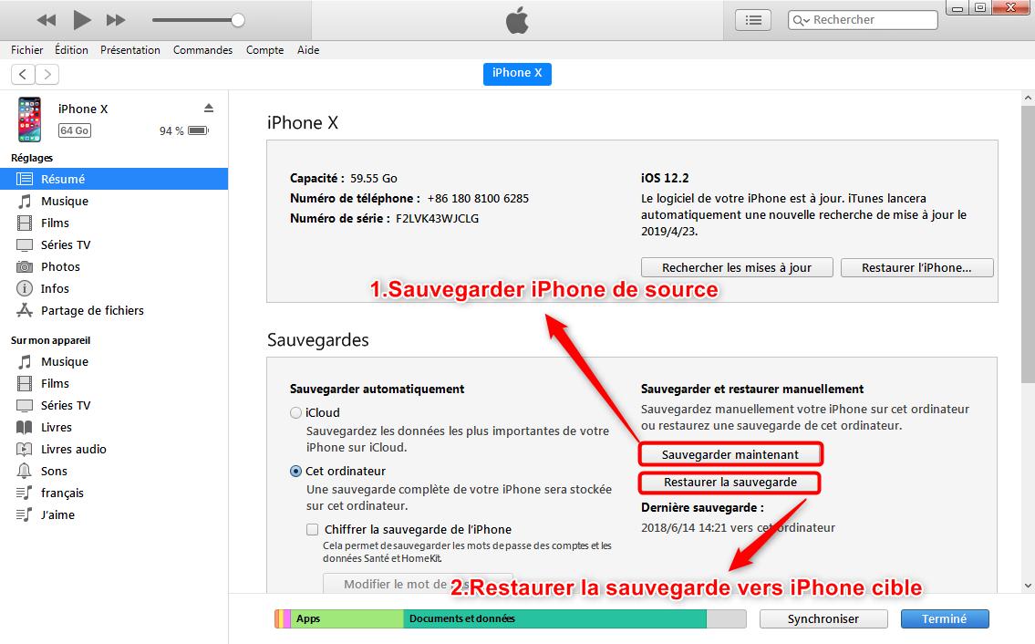 Sauvegarder iPhone et restaurersauvegarde