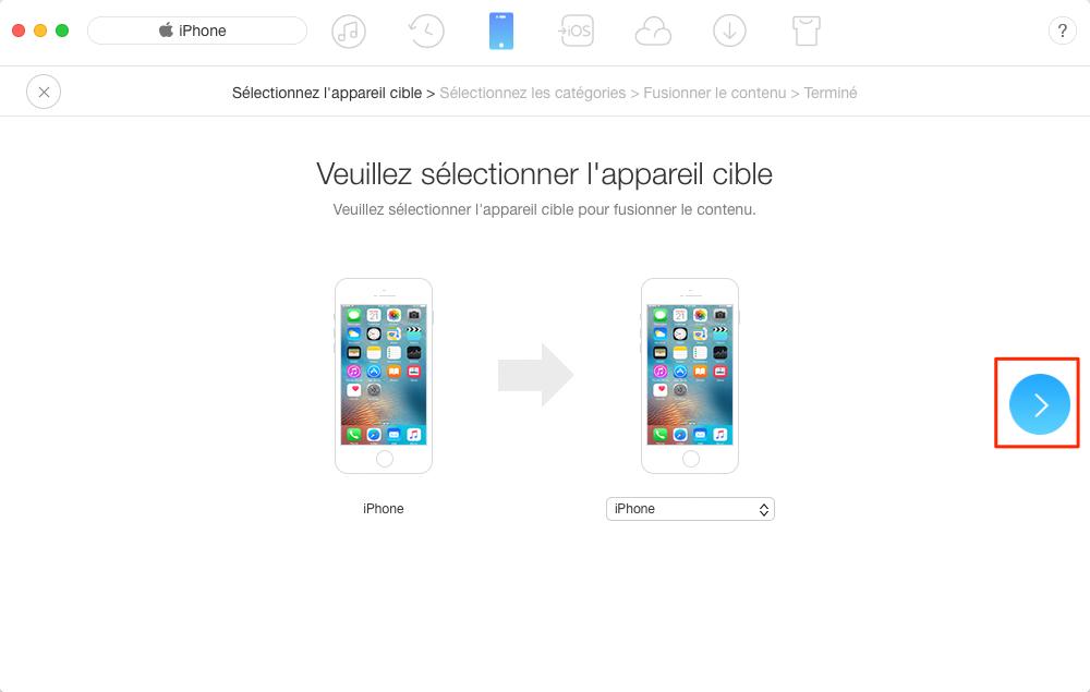 Transfert de mesaages de l'iPhone vers nouvel iPhone - étape 2