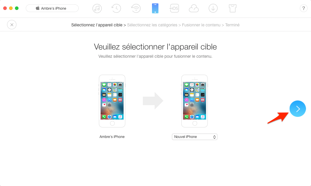 Transfert de mesaages de l'iPhone vers nouvel iPhone - étape 3