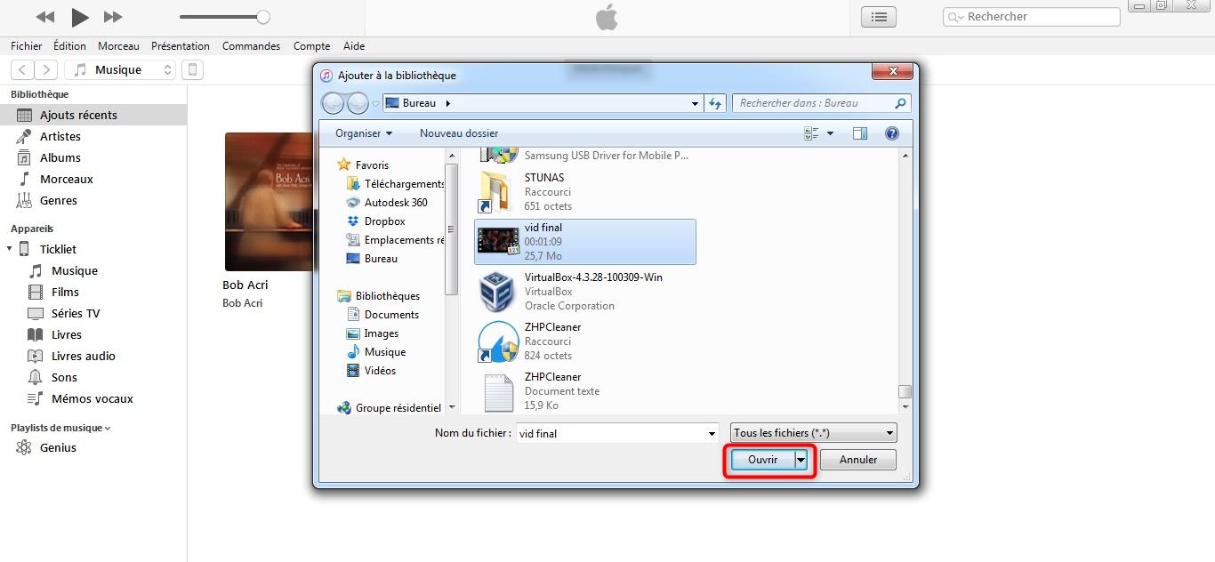 Choix des fichiers à transférer - étape 2