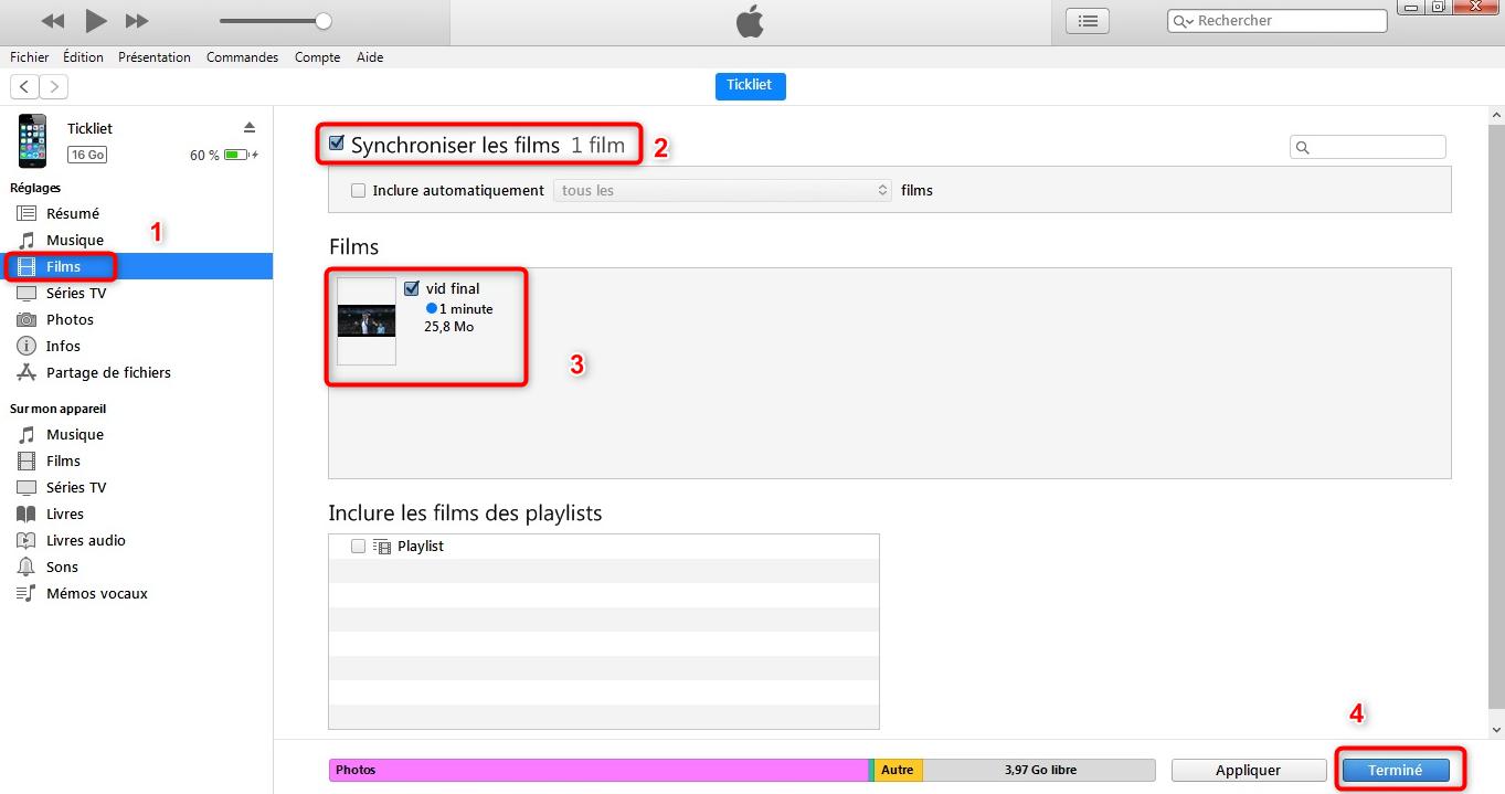 Transfert de la vidéo vers l'iPhone - étape 4