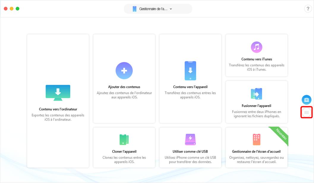 Lancement d'AnyTrans pour iOS - étape 1