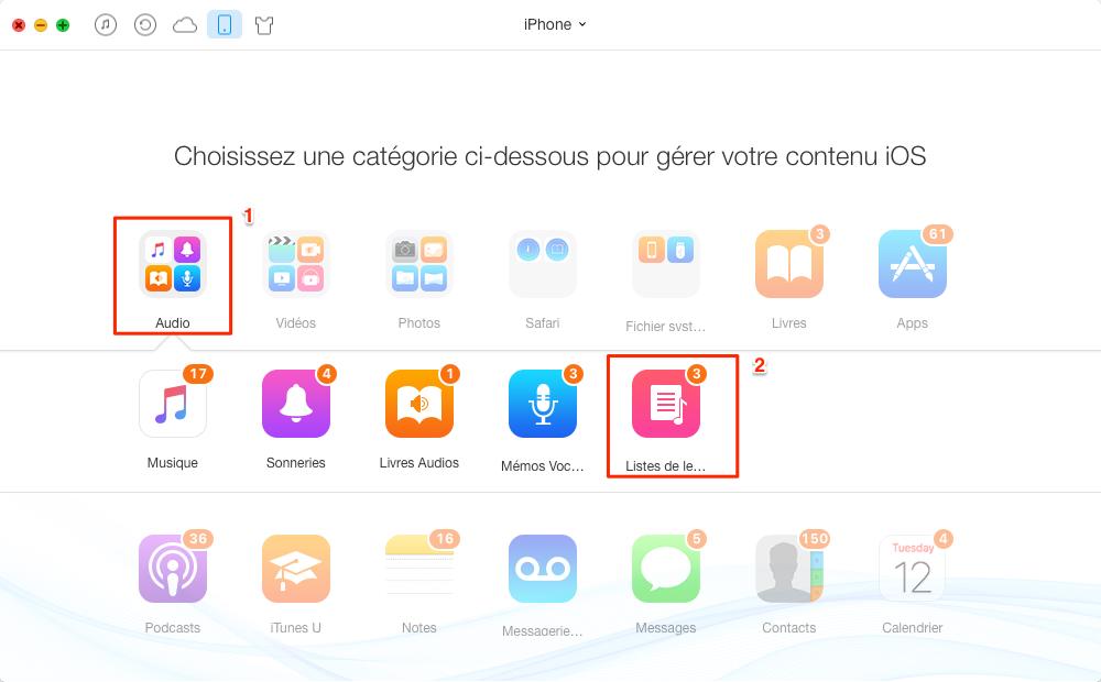 Transfert de liste de lecture de l'iPhone à iPhone - étape 2