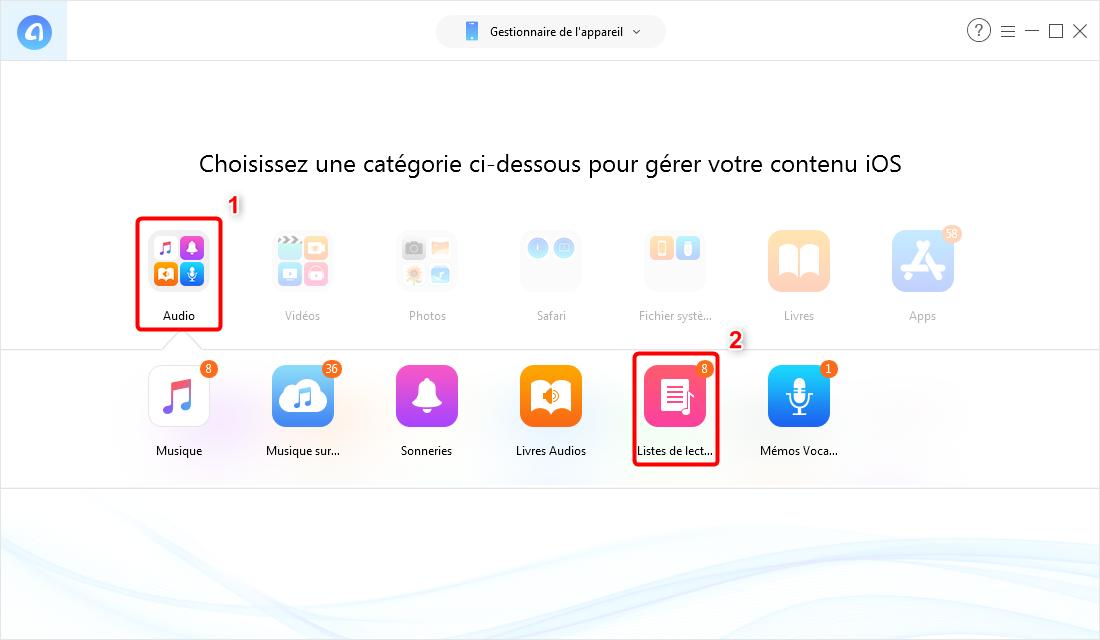 Comment transférer liste de lecture iPhone vers iTunes – étape 2