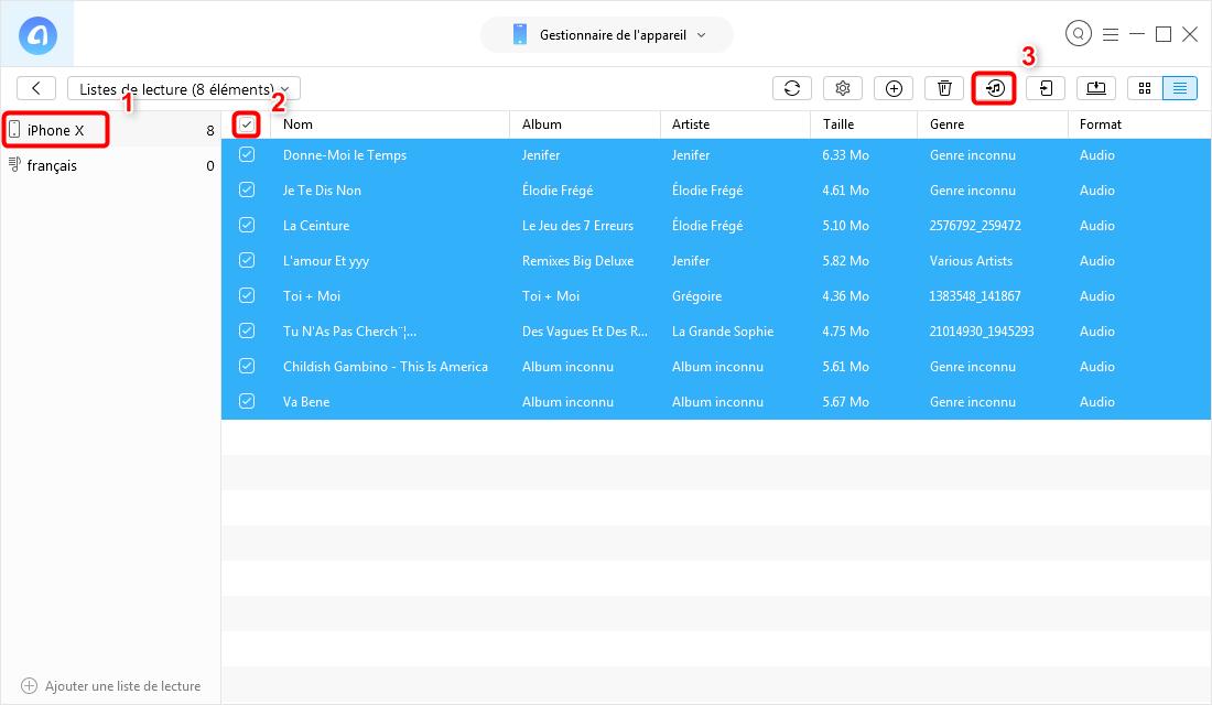 Moyen de transfert la playlist iPhone vers iTunes avec AnyTrans pour iOS - étape 3