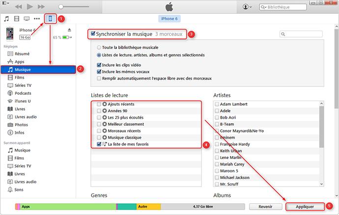 Les étapes détaillées de transfert des listes de lectures vers iTunes