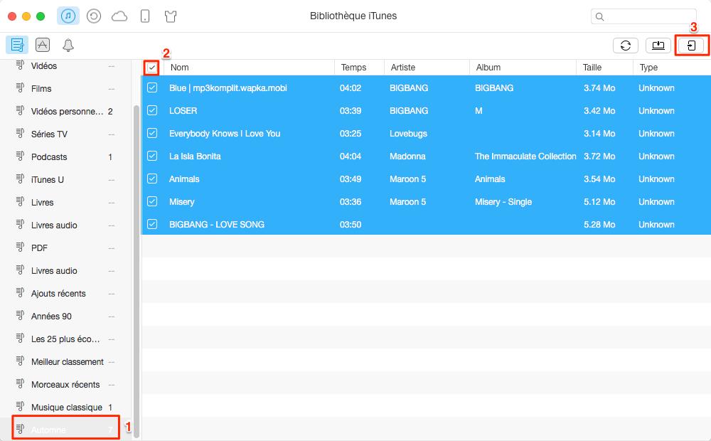 Comment transférer liste de lecture iTunes vers iPhone 7 (Plus) – étape 3