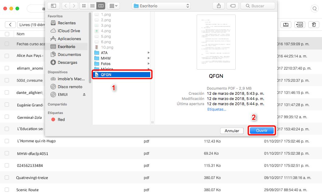 Envoyer les livres Mac vers Android directement - étape 4