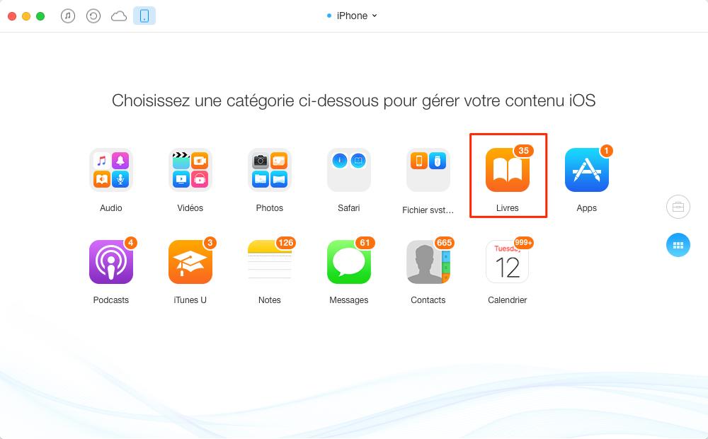 Transférer les livres d'un ancien iPhone vers iPhone 7 – étape 2