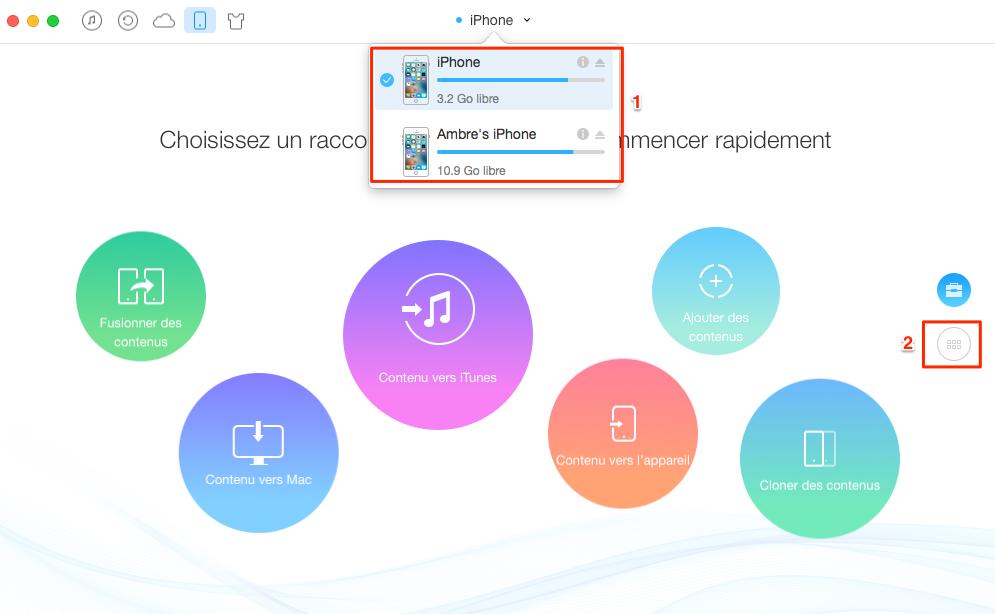 Transfert de livres audio de l'iPhone à iPhone - étape 1