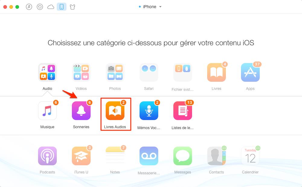 Transfert de livres audio de l'iPhone à iPhone - étape 2