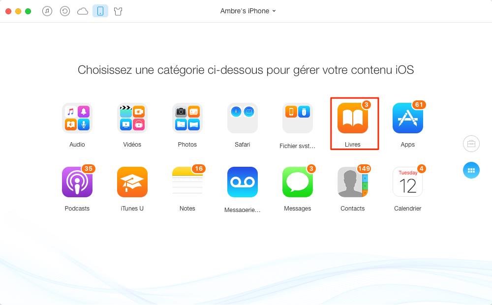 Transférer livres d'iPhone vers Mac efficacement – étape 2