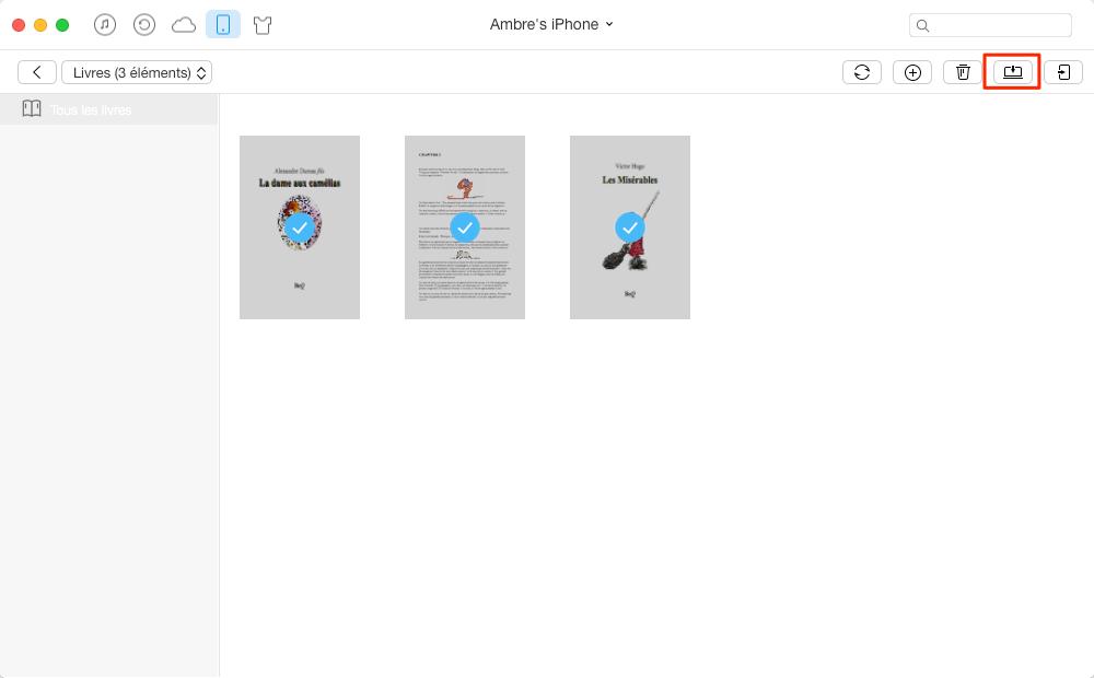 Transférer livres d'iPhone vers Mac efficacement – étape 3