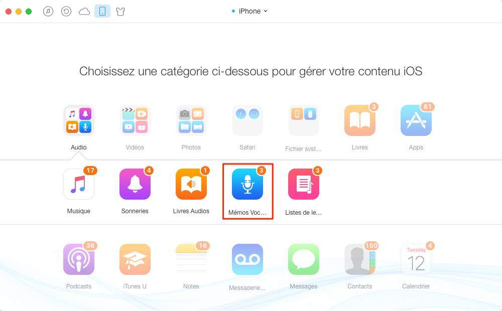 Transfert de mémos vocaux de l'iPhone à iPhone - étape 2