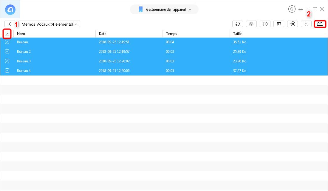 Transfert des mémos vocaux iPhone 5/6/7 vers Mac – étape 3