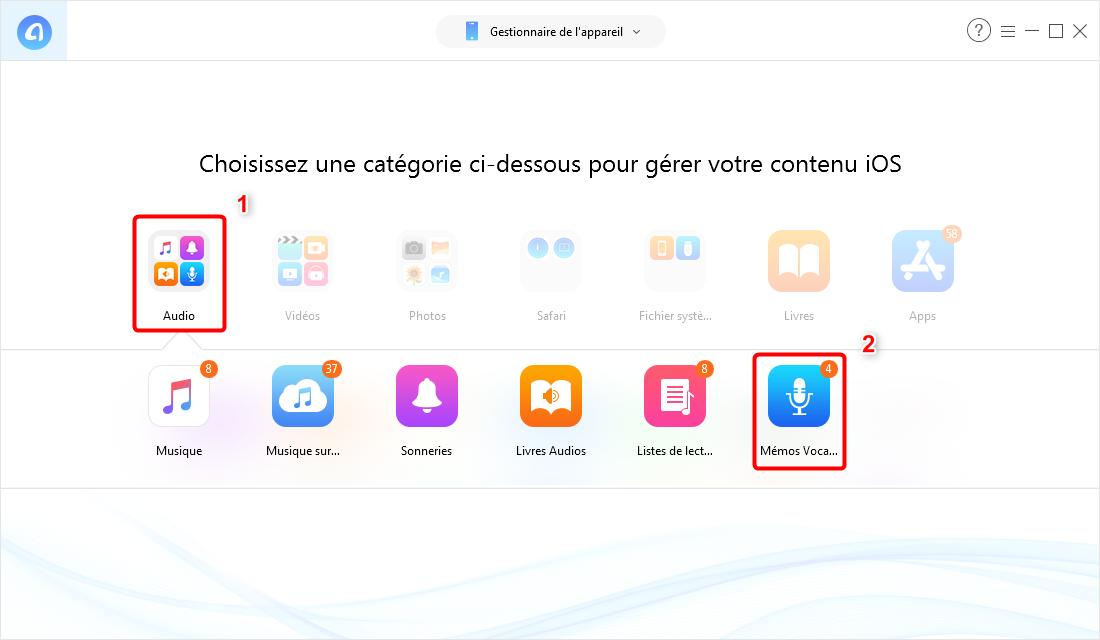 Transférer des mémos vocaux de l'iPhone vers Mac- étape 2