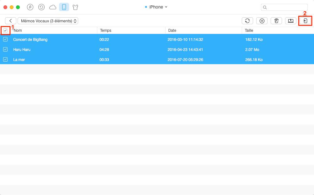 Transfert de mémos vocaux de l'iPhone vers l'iPad - étape 3