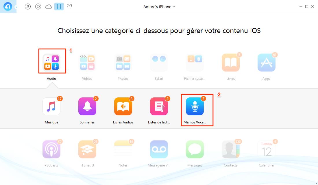 Transfert de mémos vocaux de l'iPhone à iTunes via AnyTrans - étape 2