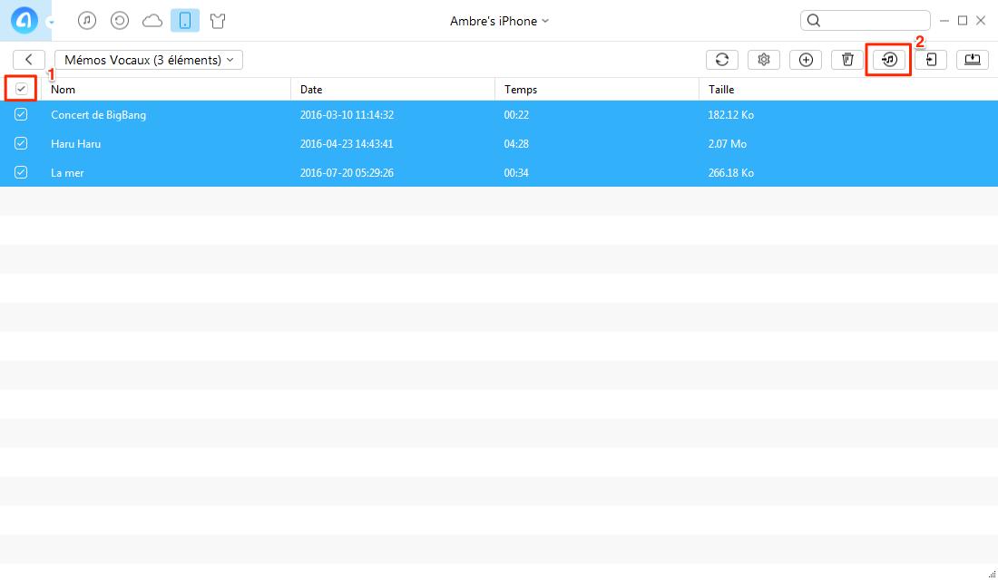 Transférer des mémos vocaux de l'iPhone à iTunes via AnyTrans - étape 3