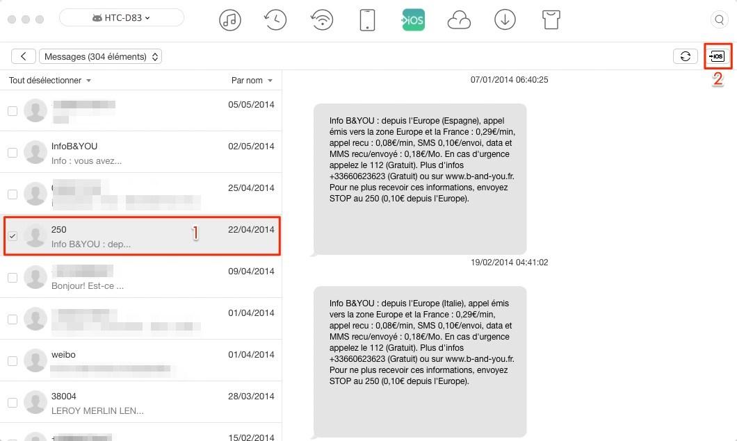 Immigrer les messages HTC vers iPhone X/8 - étape 3