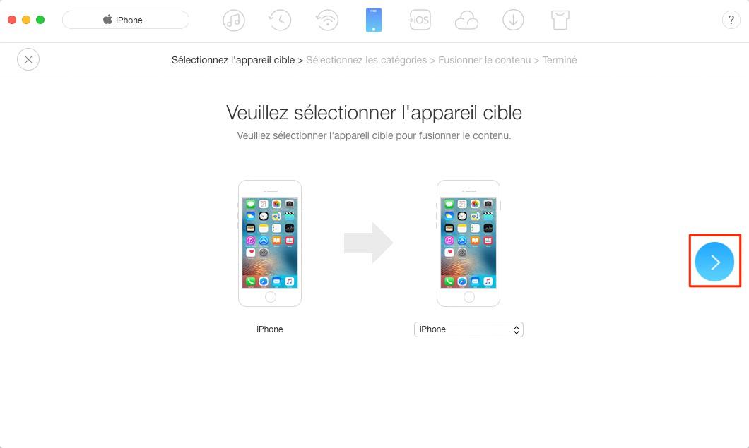 Transfert de mesaages de l'iPhone vers nouvel iPhone X - étape 2