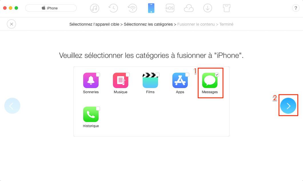 Comment transférer les SMS iPhone vers un nouvel iPhone avec AnyTrans - étape 3